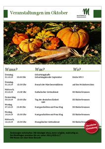 Veranstaltungskalender Oktober